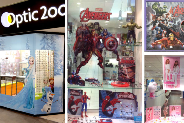 Vitrines-opticiens-Disney-Hello-Kitty-Avengers-Spiderman